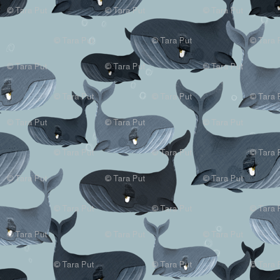 Calm Blue Whales - Smaller Scale on Grey Blue
