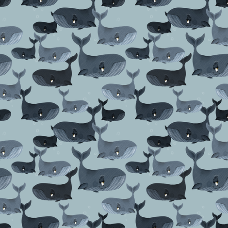 Calm Blue Whales - Smaller Scale on Grey Blue fabric by taraput on Spoonflower - custom fabric