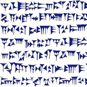 Babylonian Cuneiform in Blue // Large