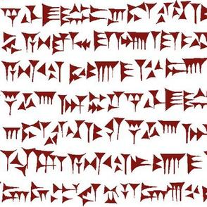 Babylonian Cuneiform in Maroon // Large
