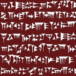 Babylonian Cuneiform on Burgundy // Large