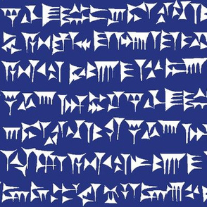 Babylonian Cuneiform on Dark Blue // Large