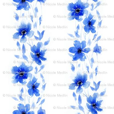 Large Striped Blue Floral