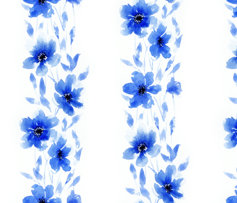 Large Striped Blue Floral fabric by nicolemedlin on Spoonflower - custom fabric