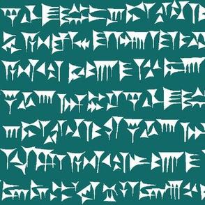 Babylonian Cuneiform on Teal // Large