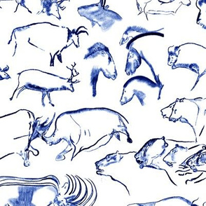 Chauvet Cave Art in Midnight Blue // Small