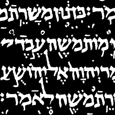 Hebrew on Black // Large fabric by thinlinetextiles on Spoonflower - custom fabric