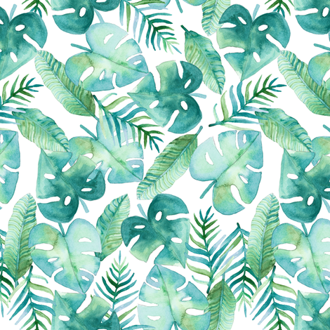 Cyan Tropical Jungle fabric by tangerine-tane on Spoonflower - custom fabric