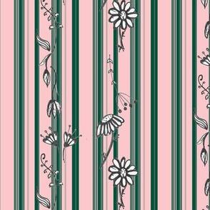Floral Stripes pink ever green