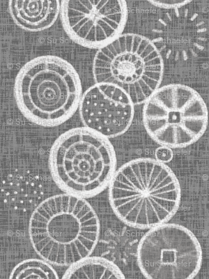 Wheels up! White on linen weave gray, by Su_G