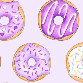 Iced Donuts Purple on pale purple - large 4 inch