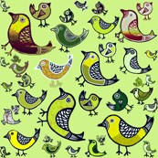 Birds - yellow, brown, beige & lime