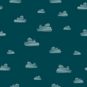Small clouds // petrol-white // Fun Fair Collection