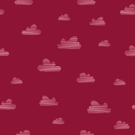 Small clouds // red-pink // Fun Fair Collection fabric by modeern on Spoonflower - custom fabric