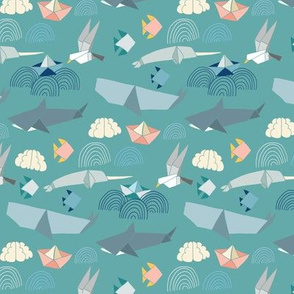 Marine Origami Pattern on Teal