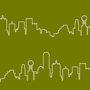 Dallas, TX Outline on Olive // Large