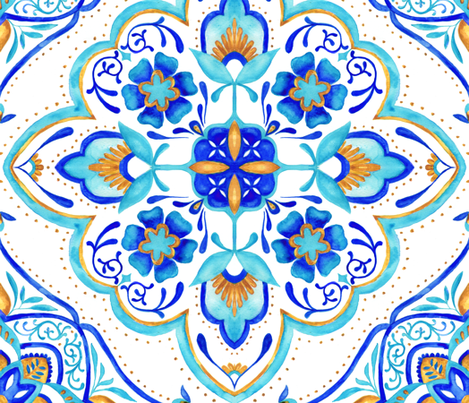 Hand Painted Moroccan Tile - Aqua fabric by colourcult on Spoonflower - custom fabric