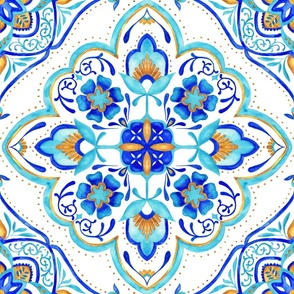 Hand Painted Moroccan Tile - Aqua