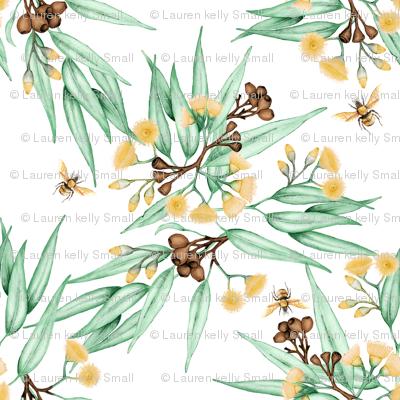Eucalyptus Yellow Blossoms & Bees, Mini