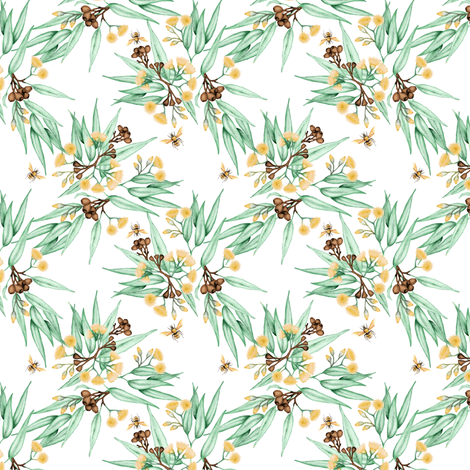 Eucalyptus Yellow Blossoms & Bees, Mini  fabric by thistleandfox on Spoonflower - custom fabric