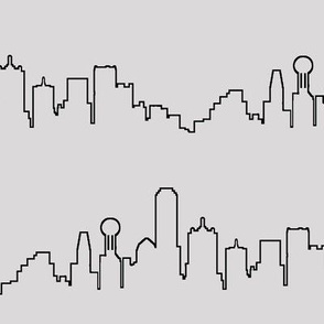 Dallas, TX Outline on Light Grey // Large