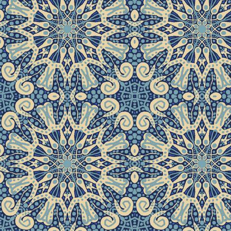 WheelFlower #1 - Blue fabric by tallulahdahling on Spoonflower - custom fabric