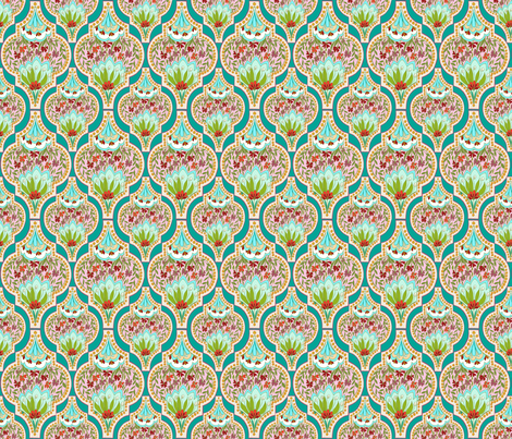 FiorellaTurquoise,by Susanne Mason fabric by susanne_mason_ on Spoonflower - custom fabric