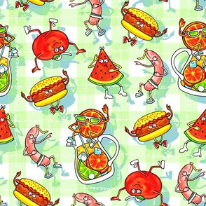 Silly Cookout Food Fabric/GreenApple