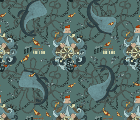 The Sailor/Blue/ larger scale fabric by iryna_ruggeri on Spoonflower - custom fabric