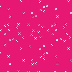Basic geometric raw brush crosses pattern pink SMALL