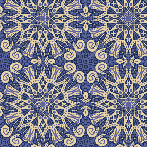 WheelFlower #11 -  Violet Blue  fabric by tallulahdahling on Spoonflower - custom fabric
