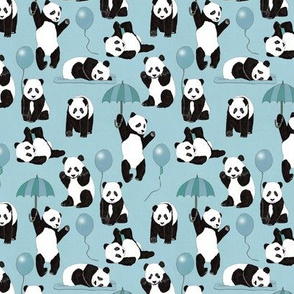 Panda Play In Blue