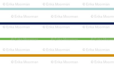thin stripes 7 HORIZONTAL -blue  mint green spice on white