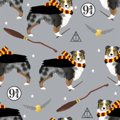 aussie bue merle witch wizard magic dog fabric grey