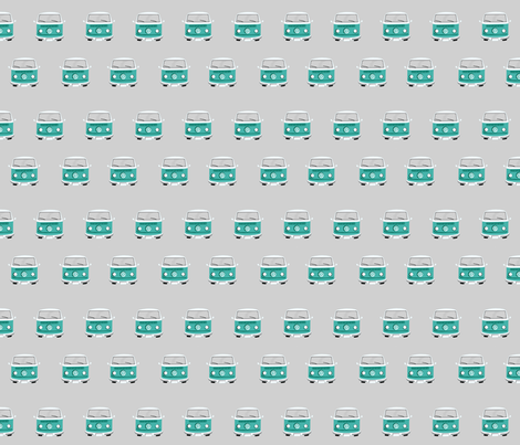 vintage camper van fabric grey blue fabric by charlottewinter on Spoonflower - custom fabric