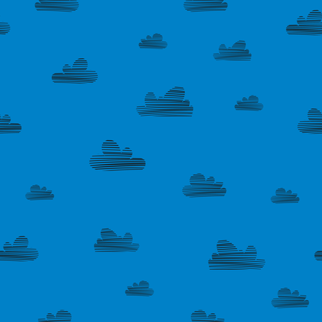 Small clouds // blue-black // Fun Fair Collection  fabric by modeern on Spoonflower - custom fabric