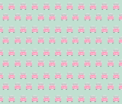 vintage camper van fabric mint fabric by charlottewinter on Spoonflower - custom fabric