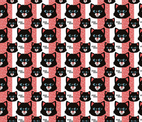 Black Cat Stripe fabric by katiecraftymom on Spoonflower - custom fabric