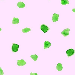 Green watercolor dots on pink || cute pattern for nursery or baby products