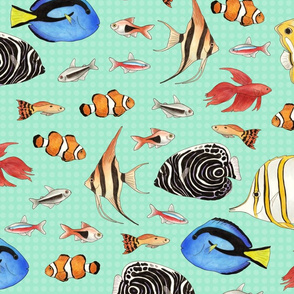 Tropical Fish on spotty aqua background