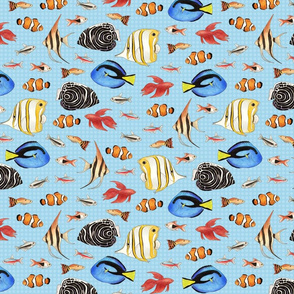 Tropical Fish on spotty light blue