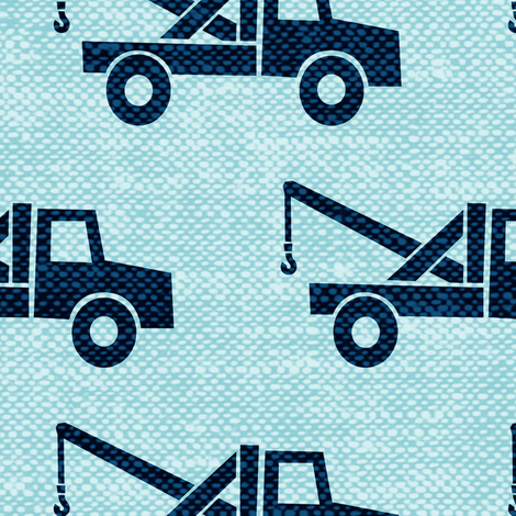 (Jumbo scale) tow trucks (blue on blue) W  fabric by littlearrowdesign on Spoonflower - custom fabric