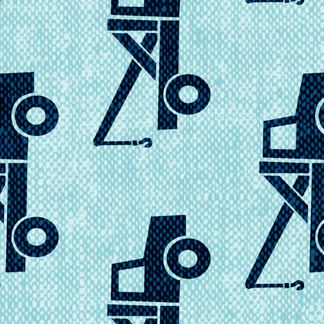 Jumbo scale tow trucks blue on blue w 90 fabric for Little blue truck fabric