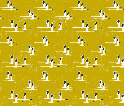 Siberian Cranes in Yellow fabric by meduzy on Spoonflower - custom fabric