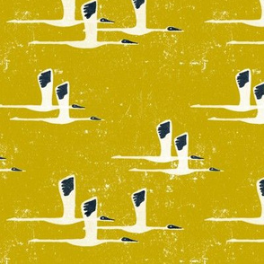Siberian Cranes in Yellow