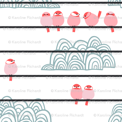birds on wire // pink // spring birds collection