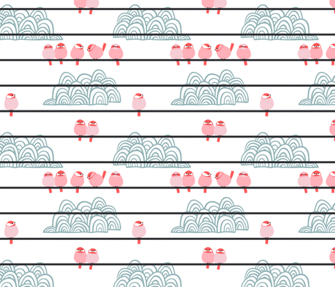 birds on wire // pink // spring birds collection fabric by modeern on Spoonflower - custom fabric