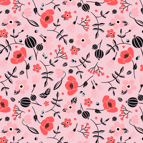 blush // pink // spring birds collection fabric by modeern on Spoonflower - custom fabric