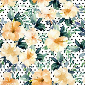 "10.5"" Peach Summer Florals - Black Polka Dots"