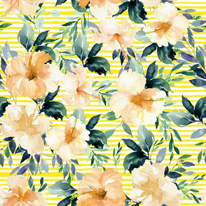"10.5"" Peach Summer Florals - Bright Yellow Stripes"